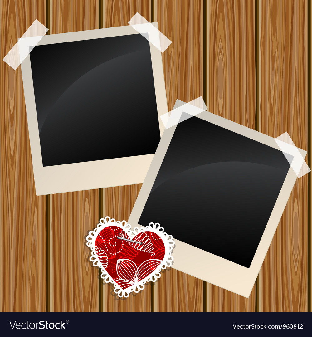 Blank photos on a wooden wall vector | Price: 1 Credit (USD $1)