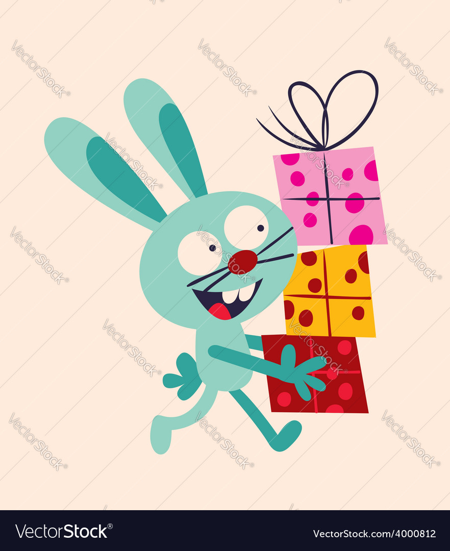 Bunny with presents vector | Price: 1 Credit (USD $1)