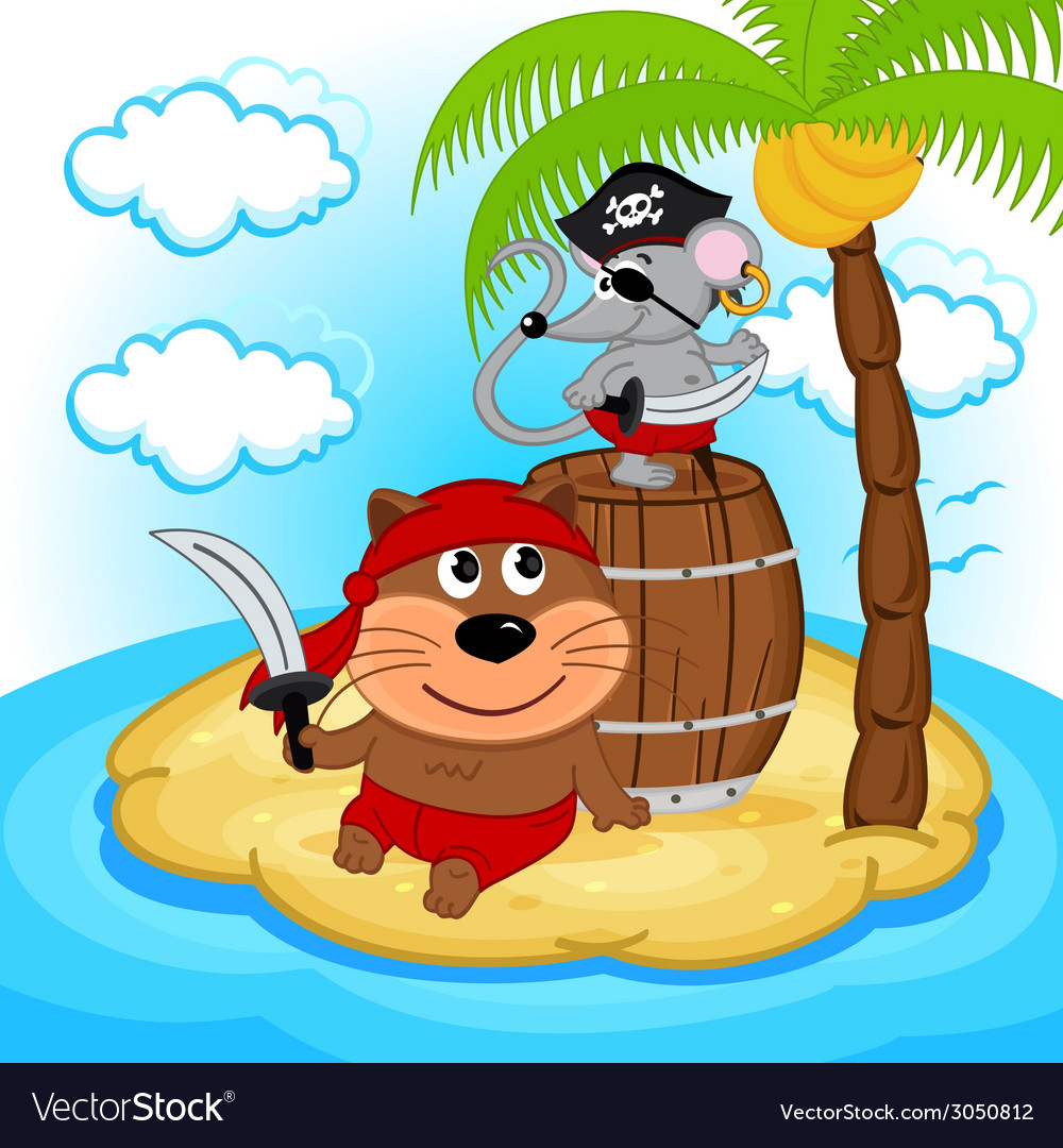 Cat mouse pirate vector | Price: 1 Credit (USD $1)