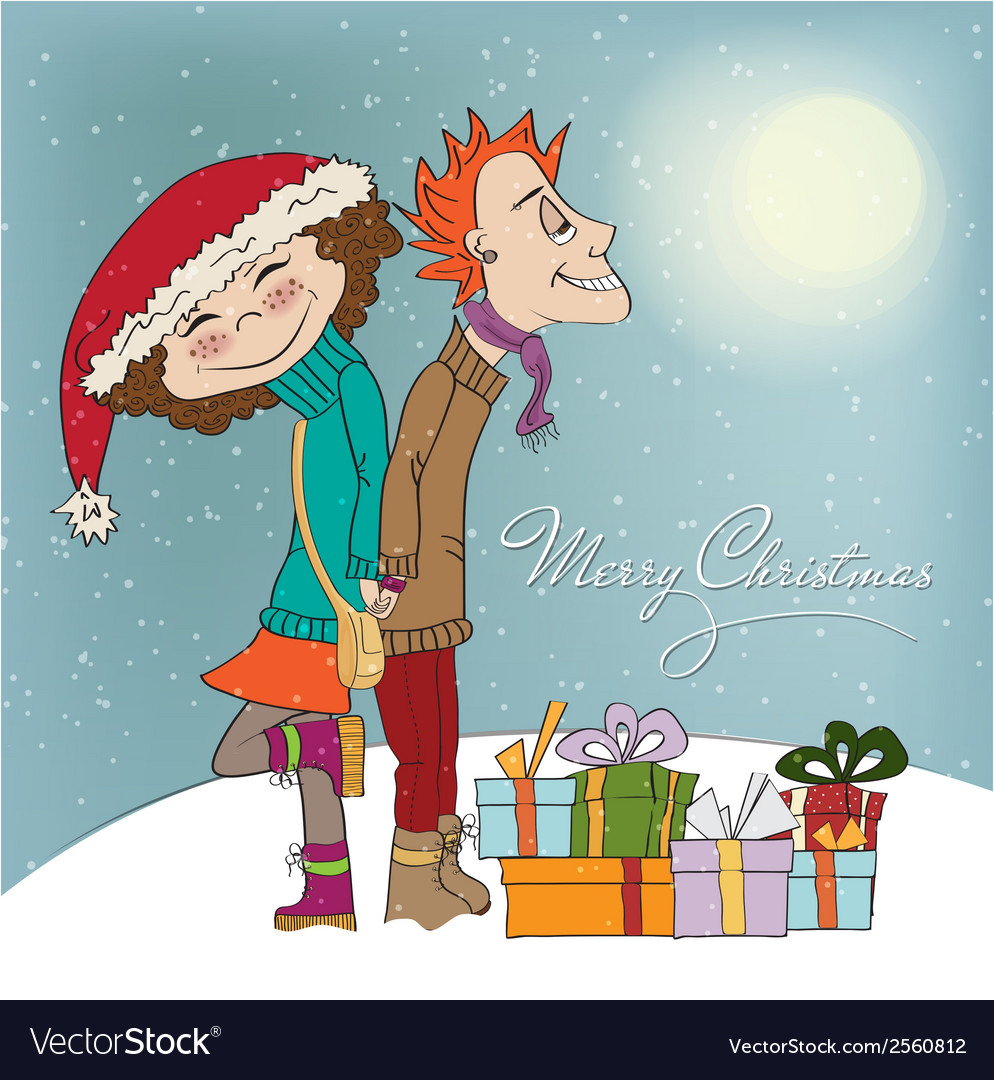Funny couple in the winter vector | Price: 1 Credit (USD $1)