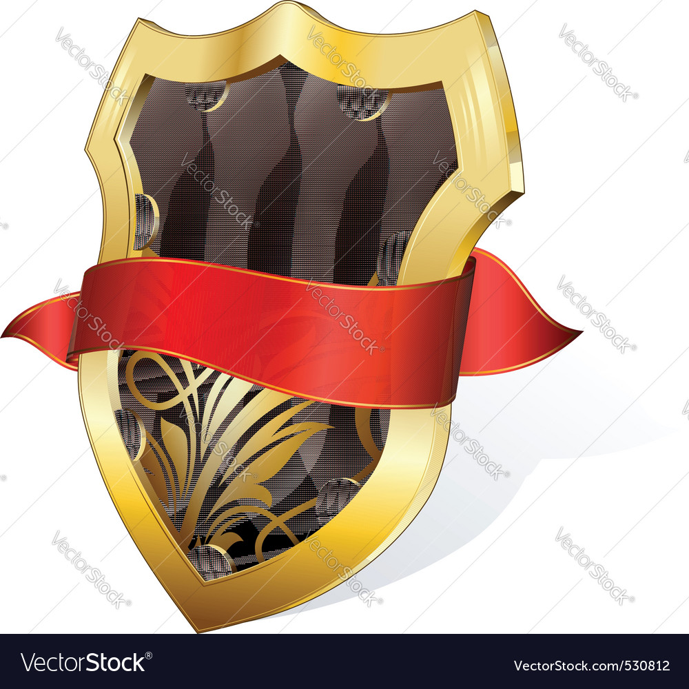 Gold shield with ribbon vector | Price: 1 Credit (USD $1)
