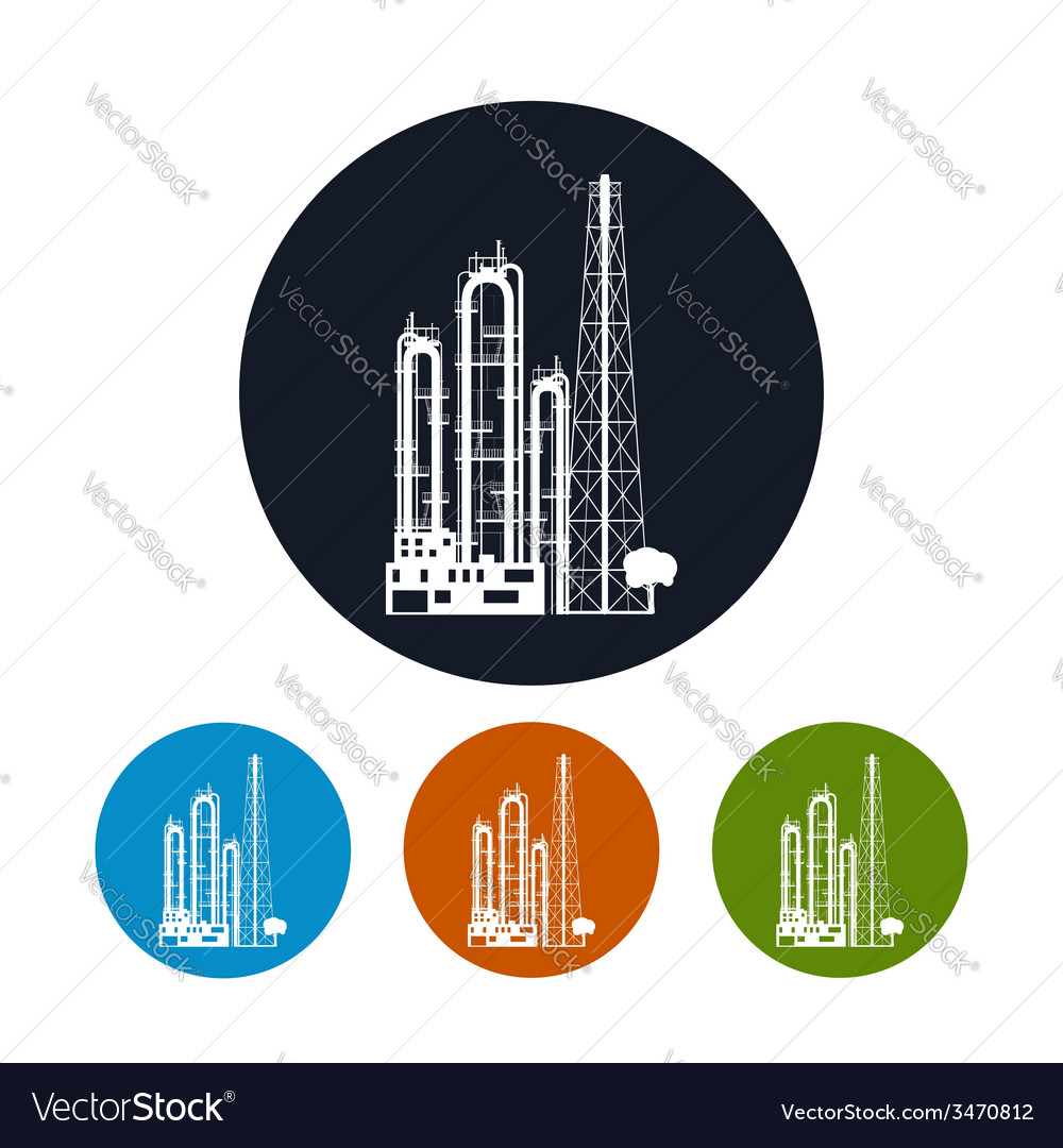 Icon of a chemical plant or refinery processing vector | Price: 1 Credit (USD $1)