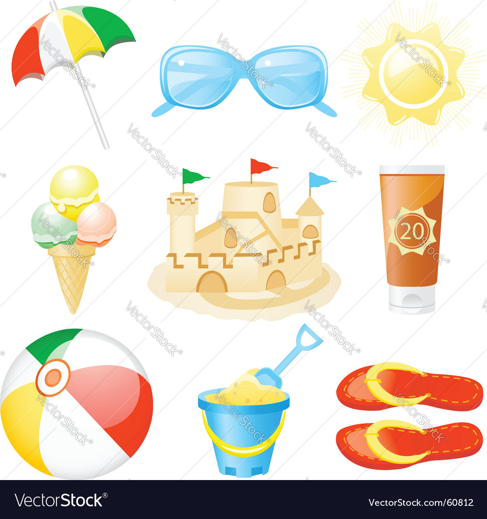 Icon set vacations vector | Price: 1 Credit (USD $1)