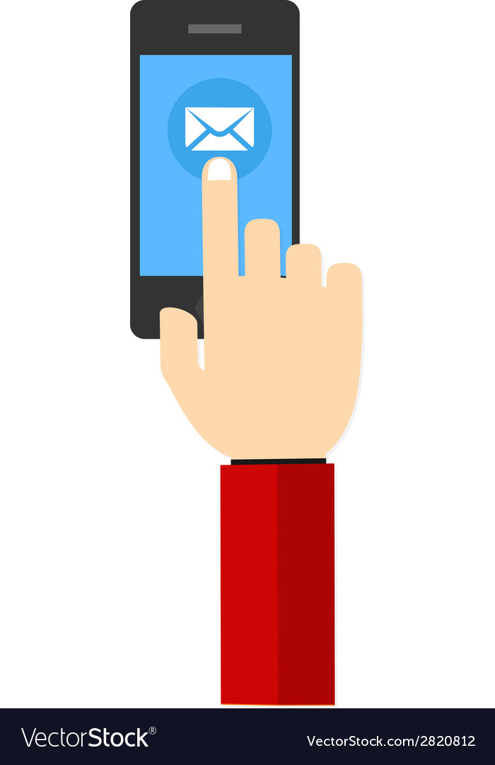 Mail hand hold touch screen on mobile phone vector | Price: 1 Credit (USD $1)