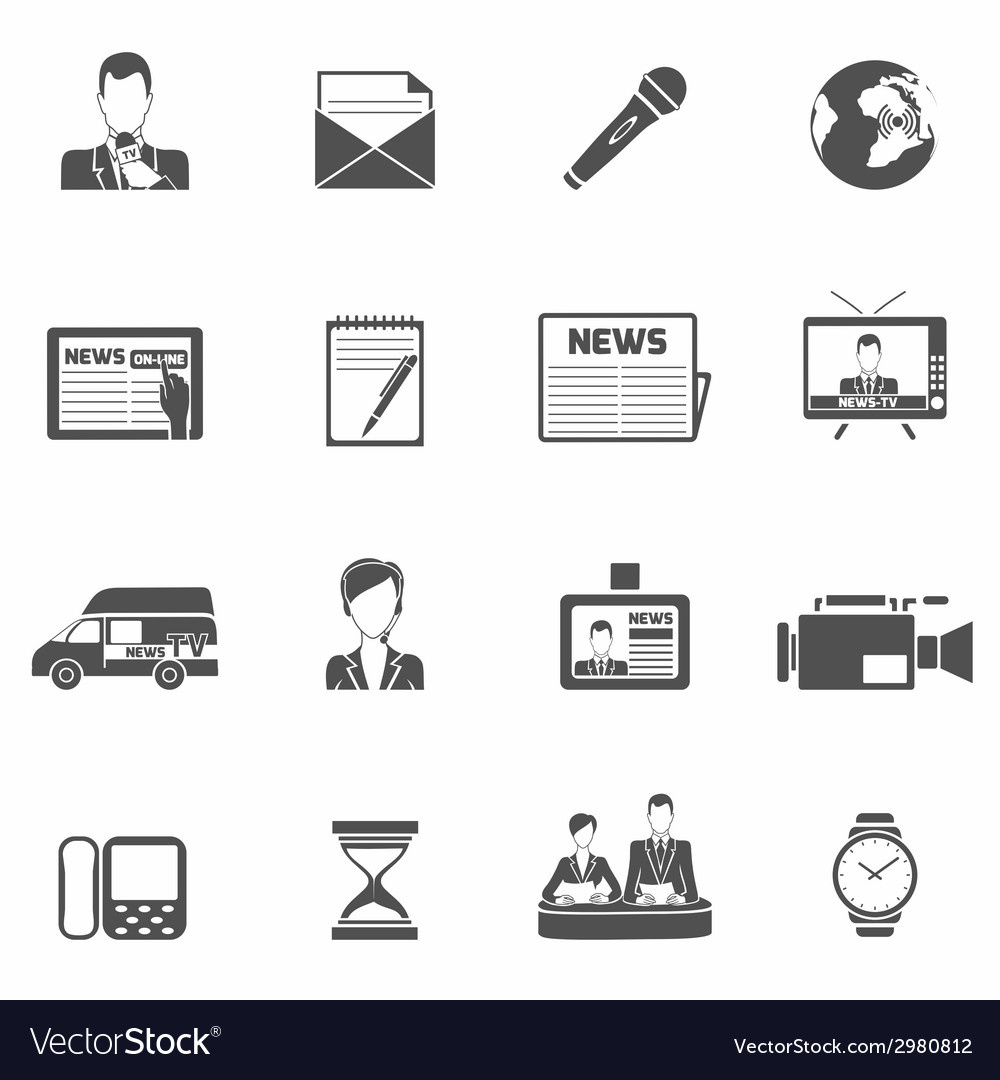 News icons black vector | Price: 1 Credit (USD $1)
