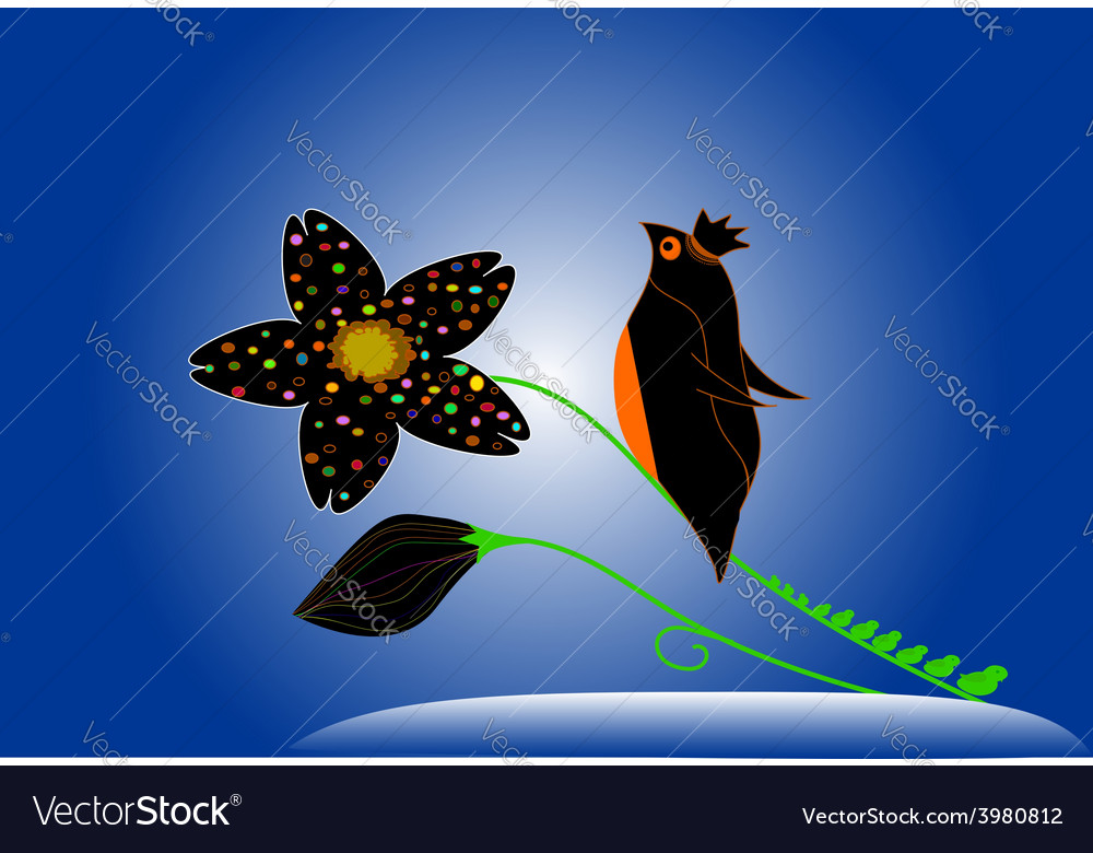 Penguin birds perch on the branches of flowers vector | Price: 1 Credit (USD $1)