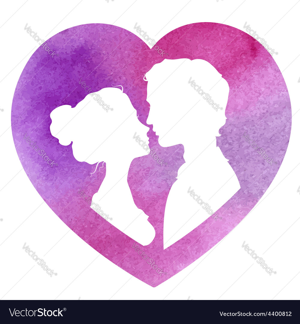 Profile silhouettes of man and woman watercolor vector | Price: 1 Credit (USD $1)