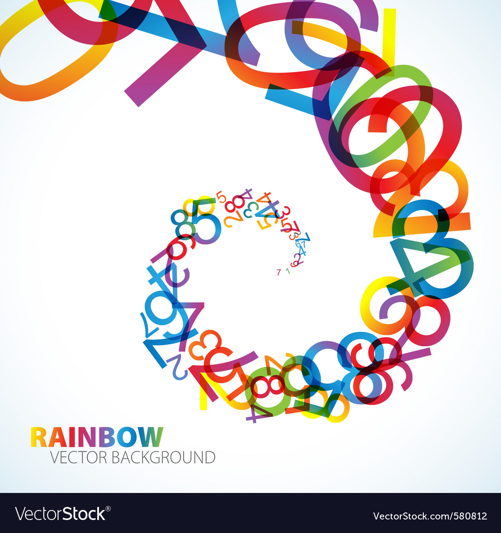Rainbow number background vector | Price: 1 Credit (USD $1)