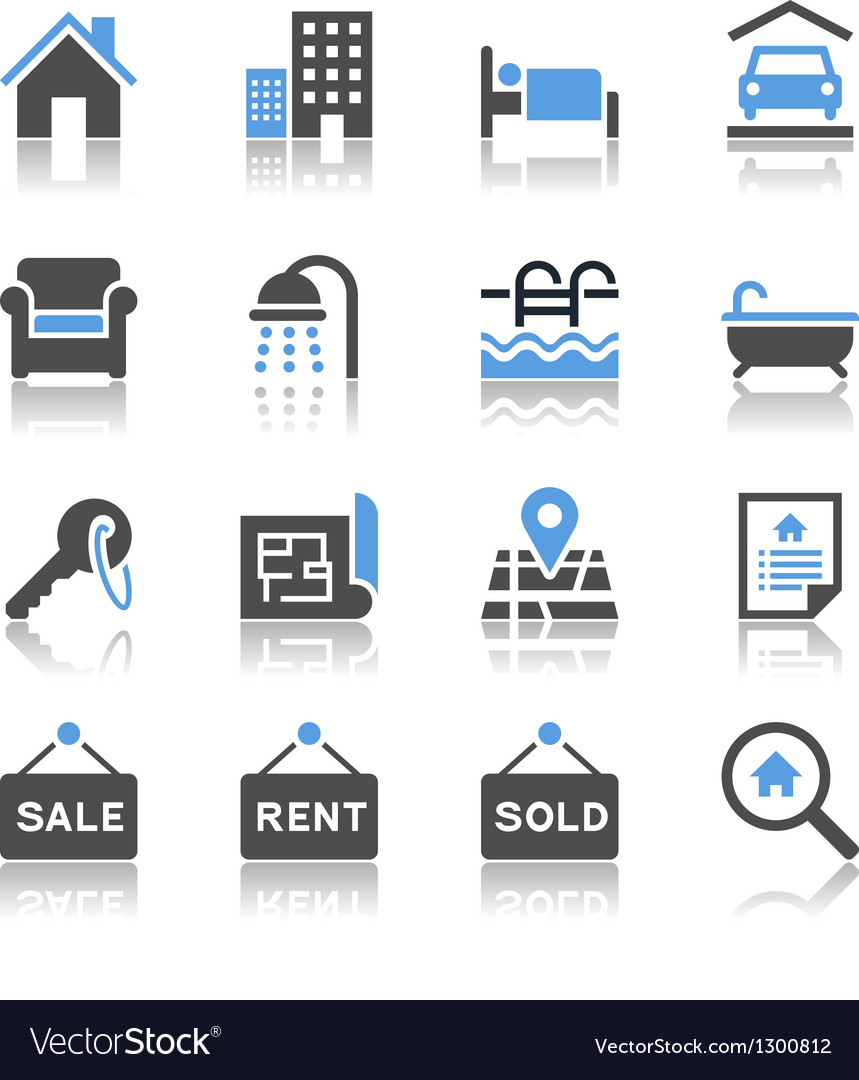 Real estate icons reflection vector | Price: 1 Credit (USD $1)