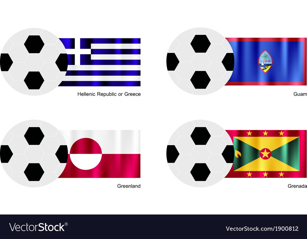 Soccer ball of greece guam greenland and grena vector | Price: 1 Credit (USD $1)