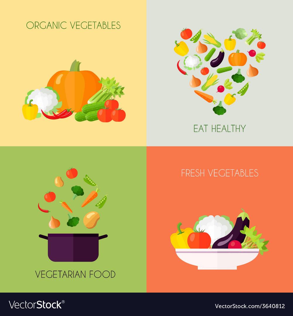 Vegetables flat set vector | Price: 1 Credit (USD $1)