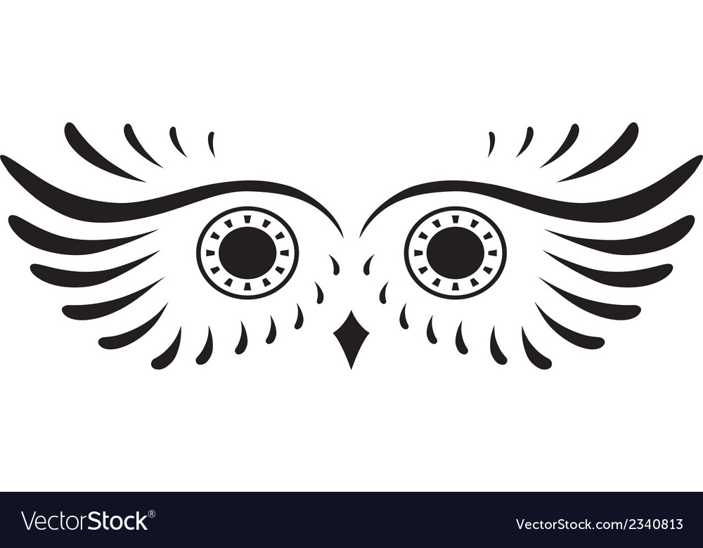 Black abstract silhouette of owl vector | Price: 1 Credit (USD $1)