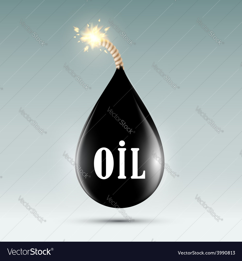Bomb with a wick in the form of oil droplets vector | Price: 1 Credit (USD $1)
