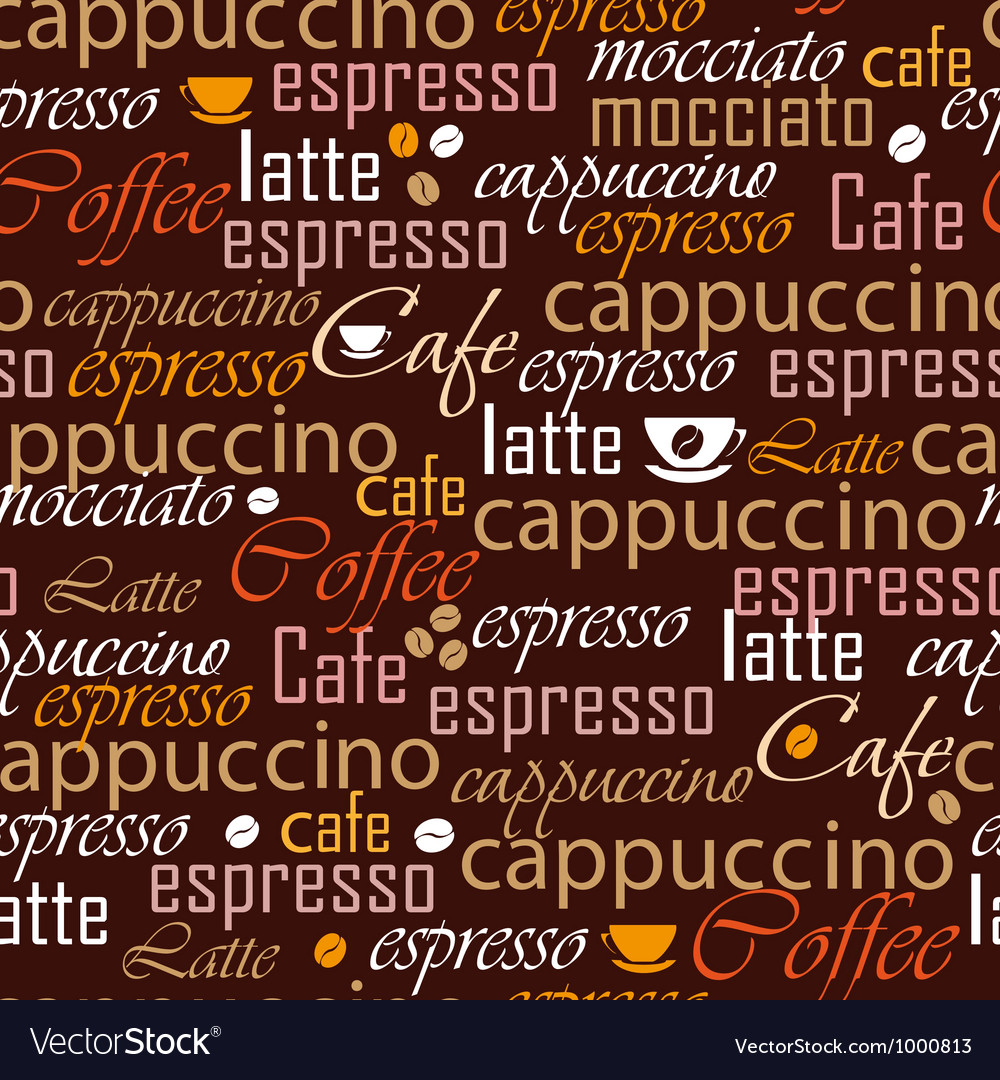 Coffee name seamless vector | Price: 1 Credit (USD $1)