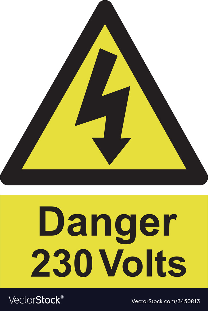 Danger 230 volts safety sign vector | Price: 1 Credit (USD $1)