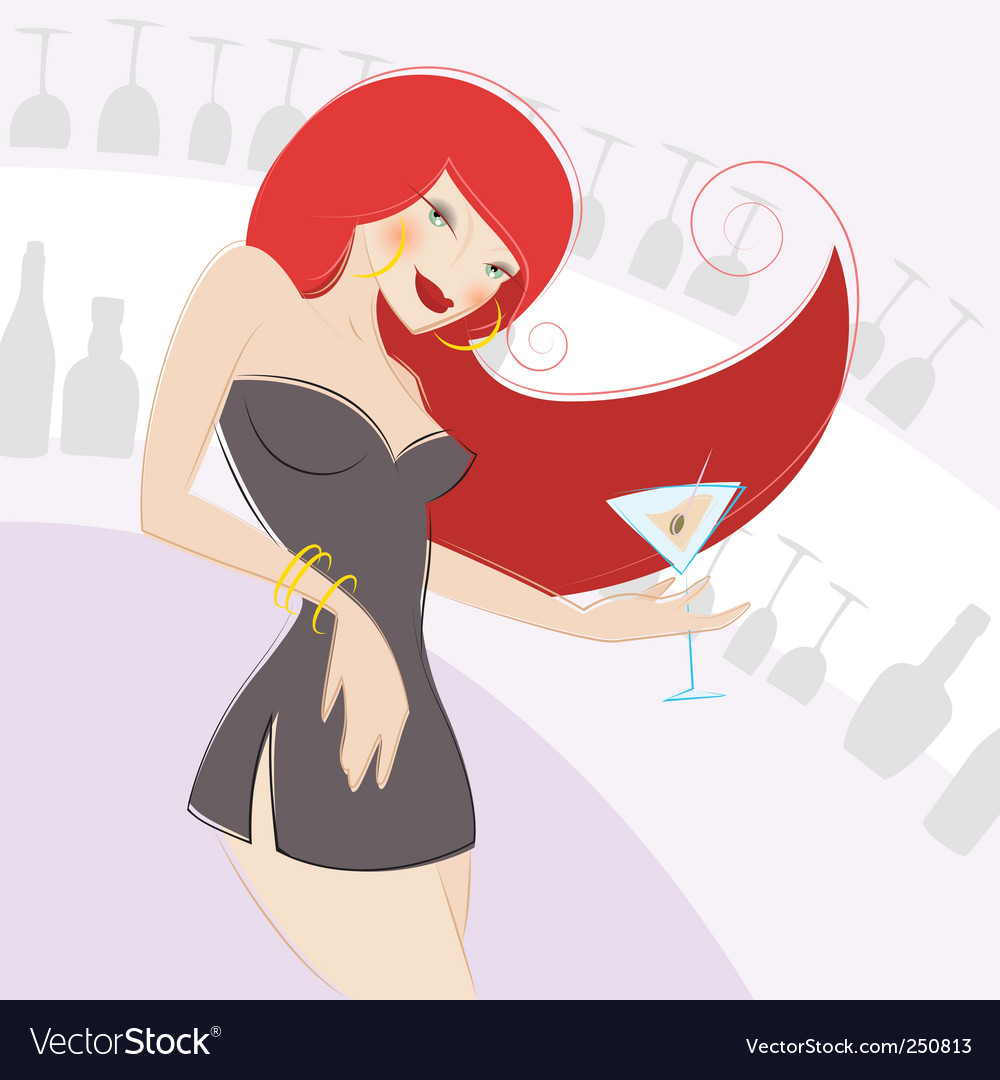 Girl drinking alcohol vector | Price: 3 Credit (USD $3)