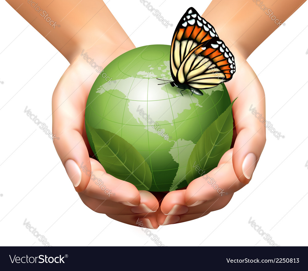 Green world with leaf and butterfly in woman hands vector | Price: 1 Credit (USD $1)