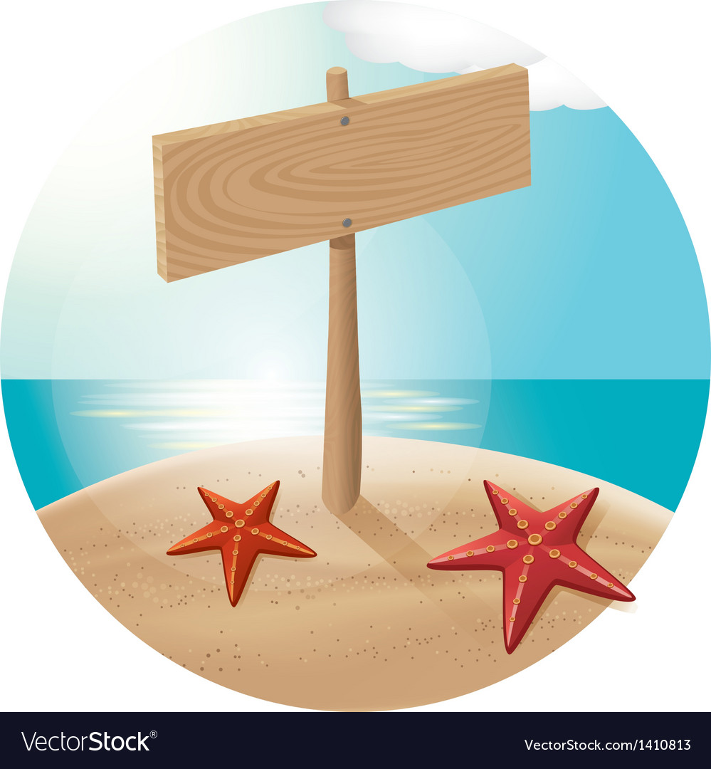 Guidepost at the beach with the sea stars vector | Price: 1 Credit (USD $1)