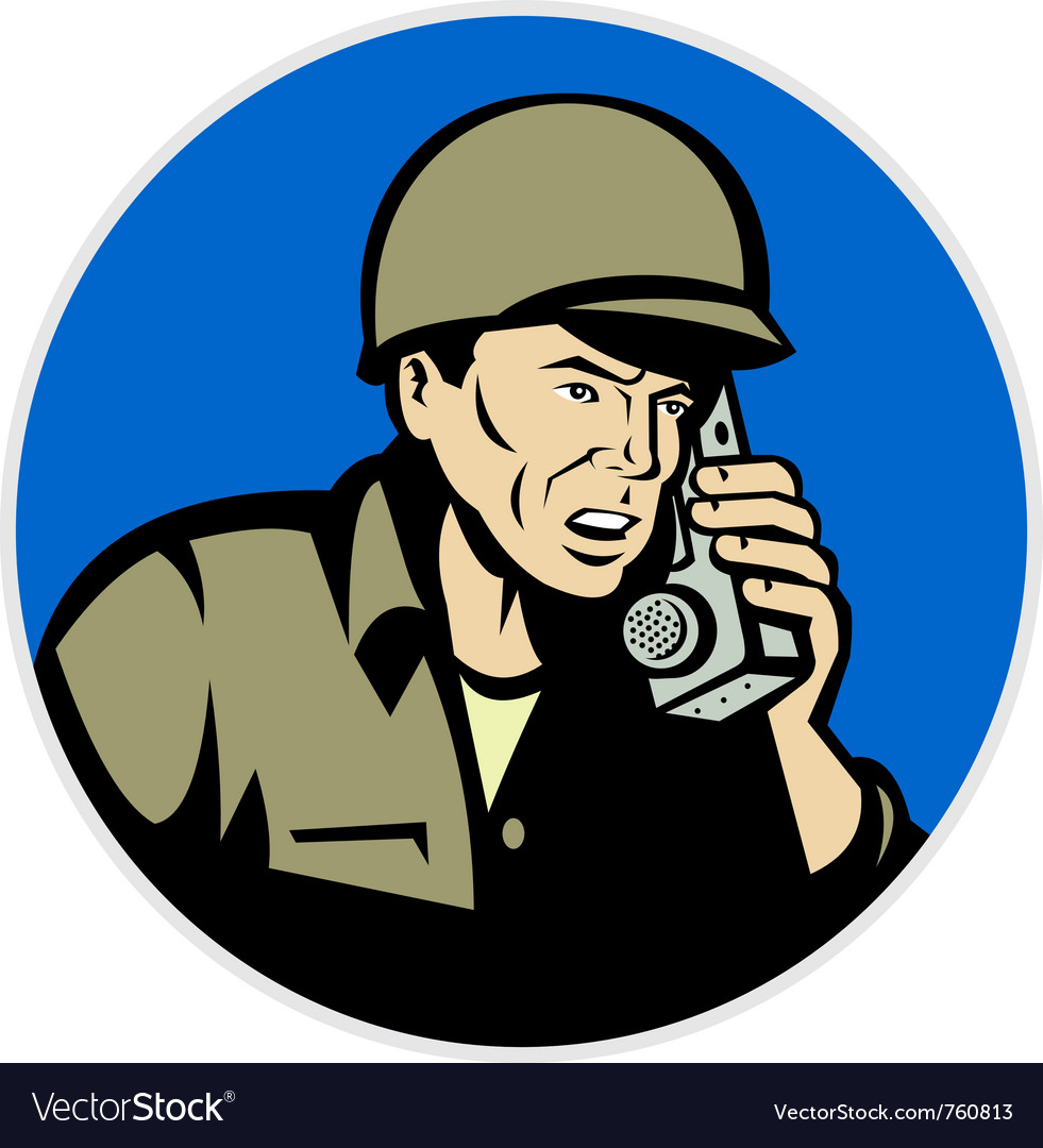 Military soldier on radio vector | Price: 1 Credit (USD $1)