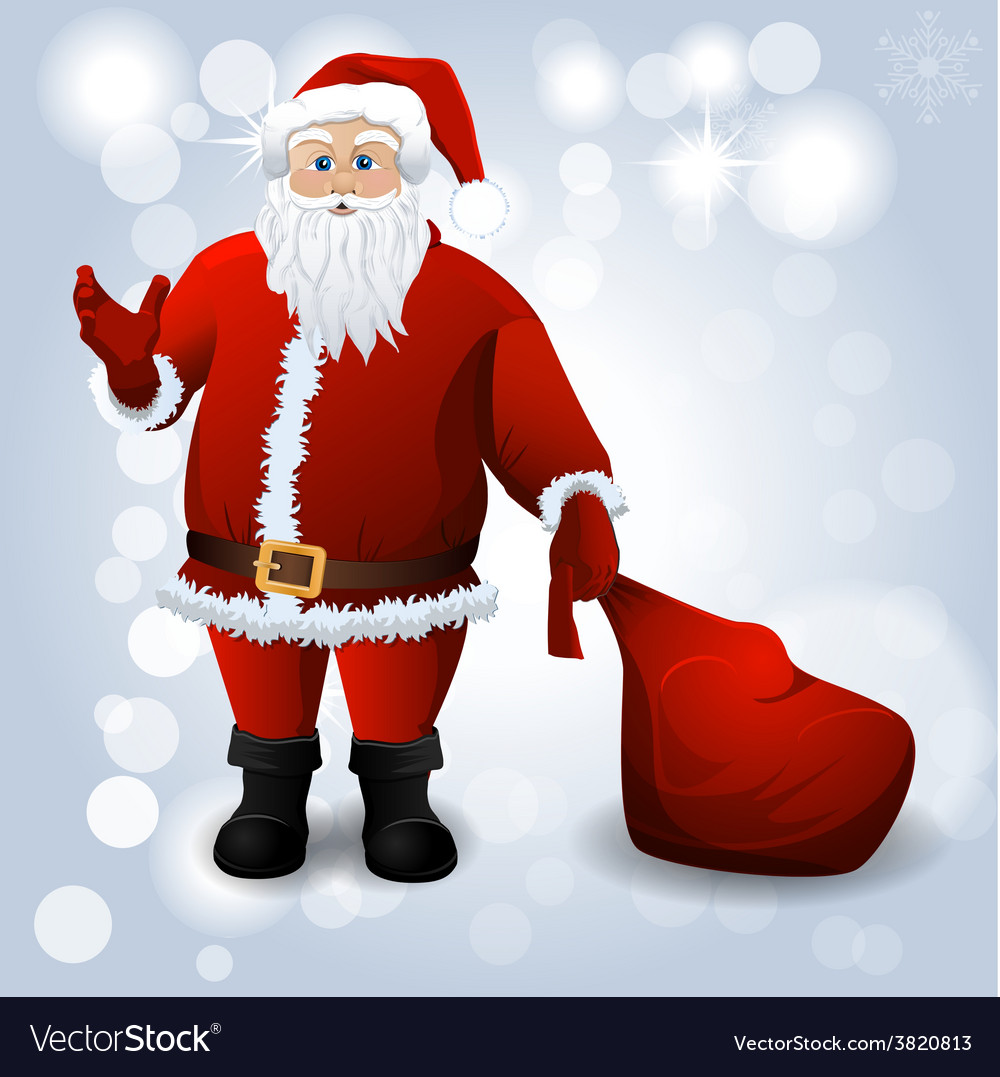 Santa claus with red sack over white vector | Price: 1 Credit (USD $1)