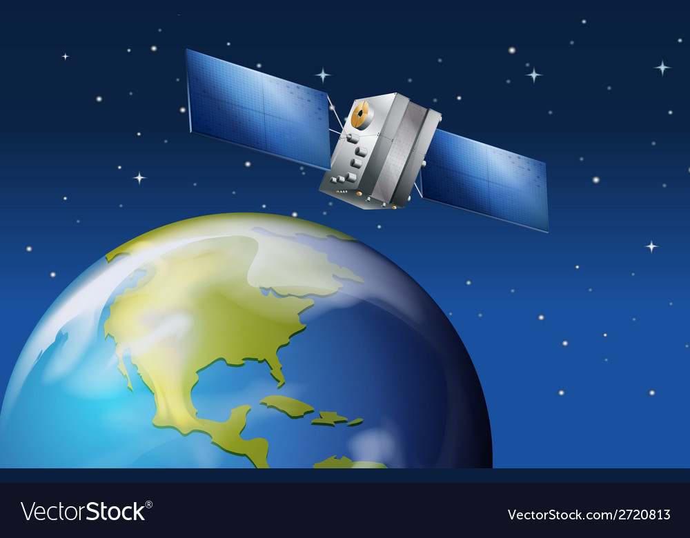 Satellite near the planet earth vector | Price: 1 Credit (USD $1)