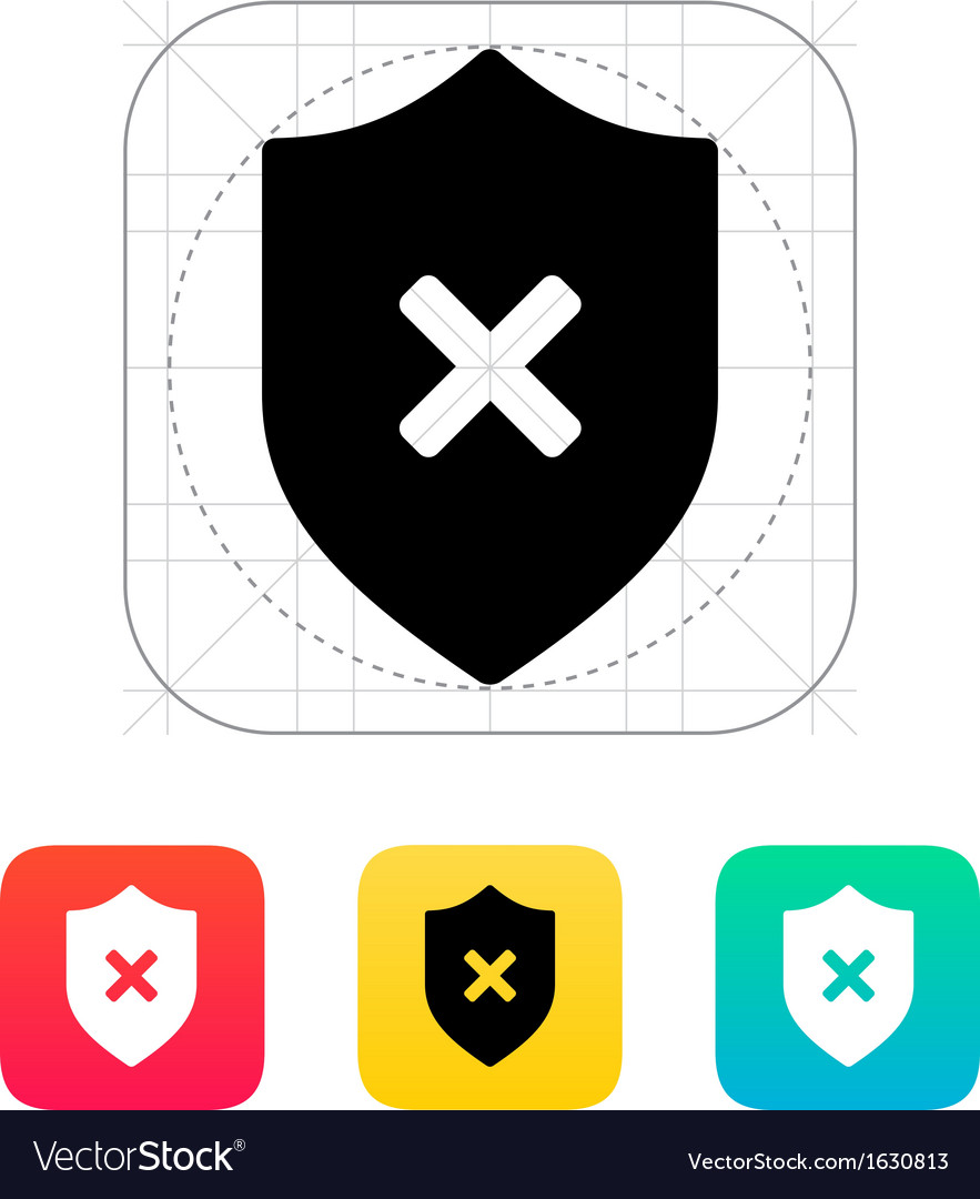 Shield with cross mark icon vector | Price: 1 Credit (USD $1)