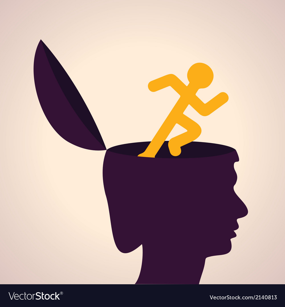Thinking concept-human head with running man vector | Price: 1 Credit (USD $1)
