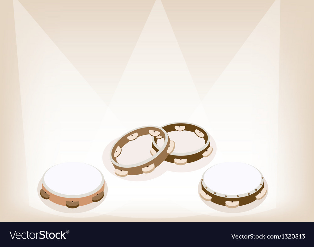 Three tambourine on brown stage background vector | Price: 1 Credit (USD $1)
