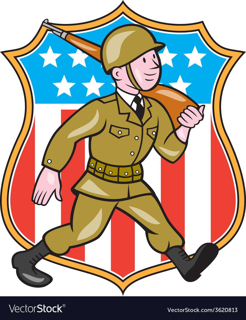 World war two soldier american cartoon shield vector | Price: 1 Credit (USD $1)