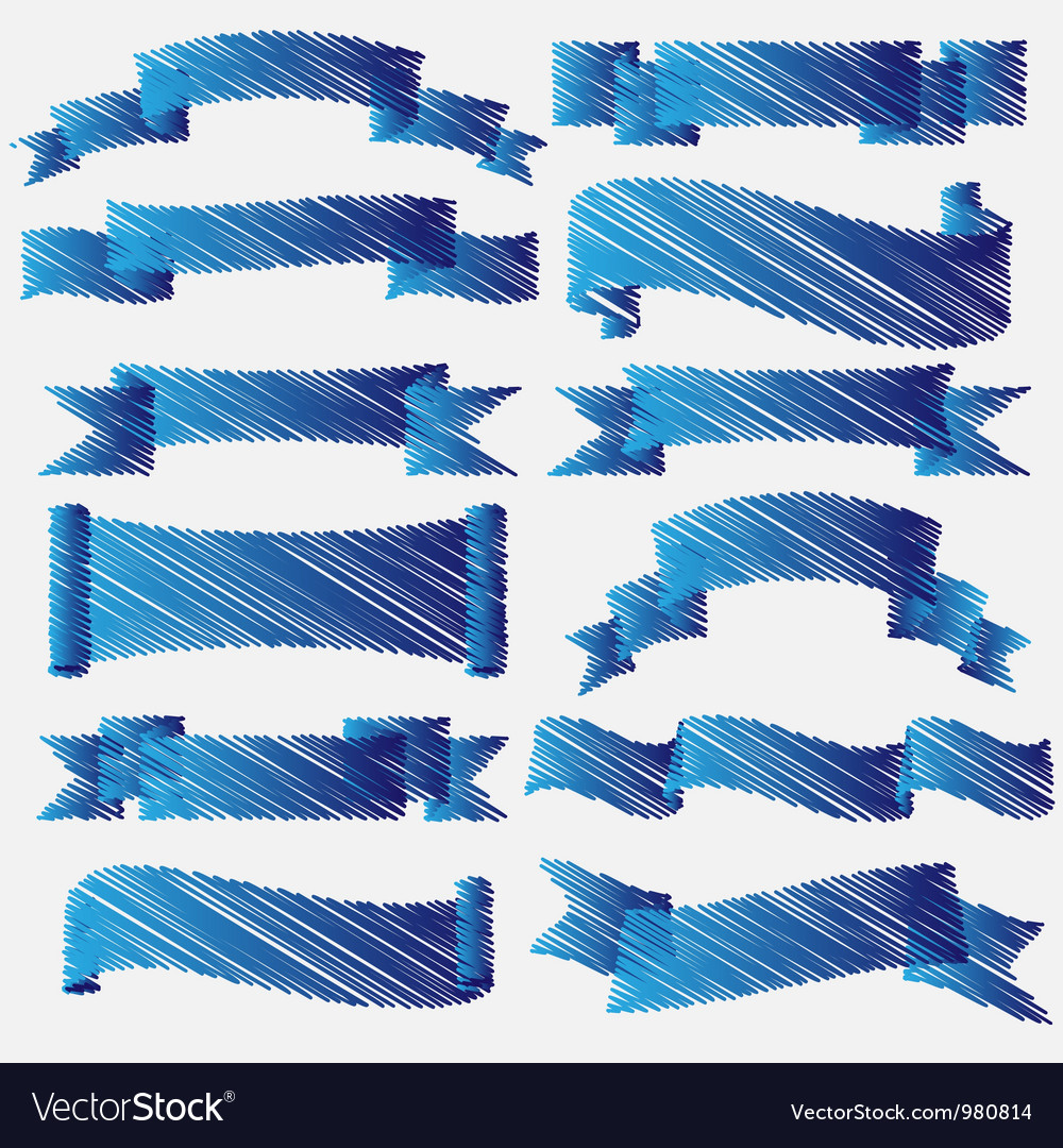 Blue scribbled ribbons and banners vector | Price: 1 Credit (USD $1)