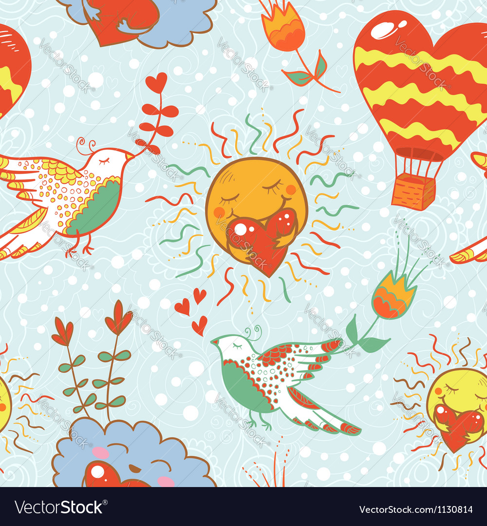 Bright cartoon romantic seamless pattern vector | Price: 1 Credit (USD $1)