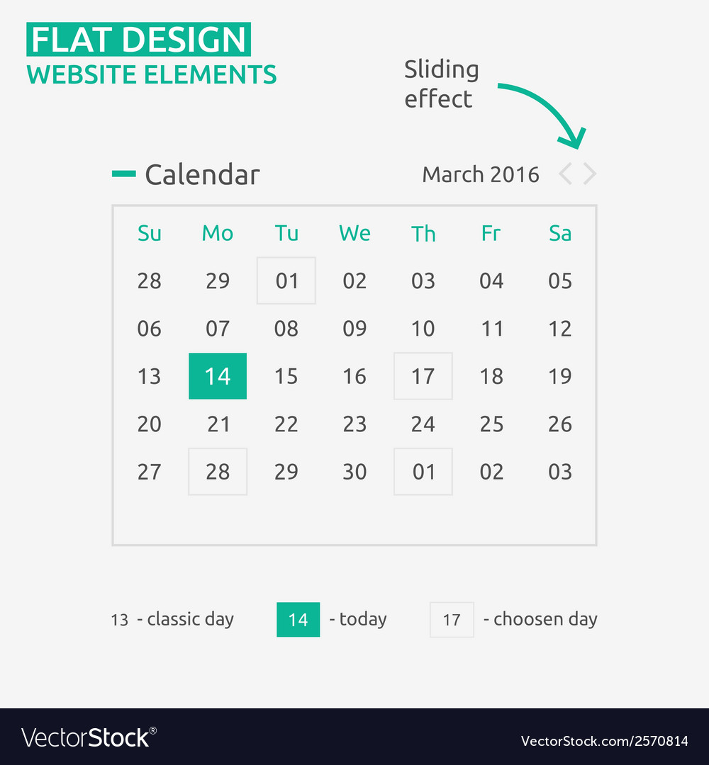 Calendar flat design vector | Price: 1 Credit (USD $1)