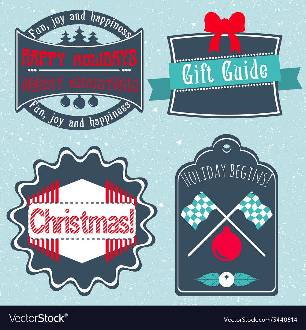 Christmas badges labels stickers in retro style vector | Price: 1 Credit (USD $1)