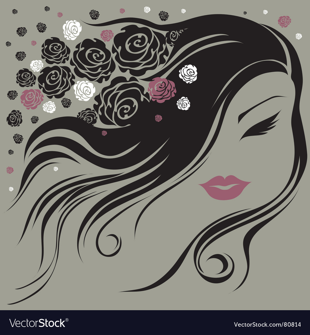 Decorative vintage woman with flowers vector | Price: 1 Credit (USD $1)