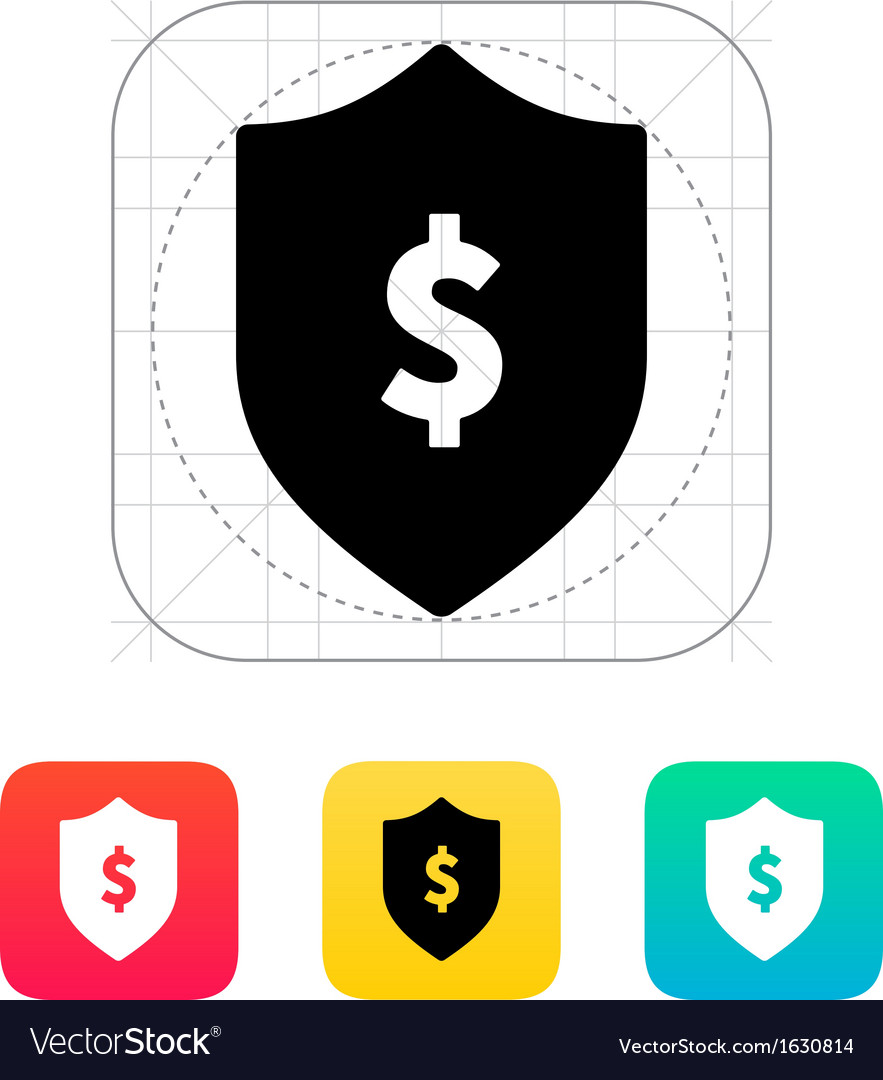 Financial security shield with dollar sign icon vector | Price: 1 Credit (USD $1)