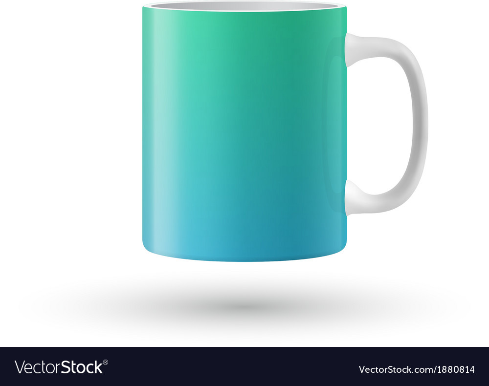 Green souvenir mug on white background vector | Price: 1 Credit (USD $1)