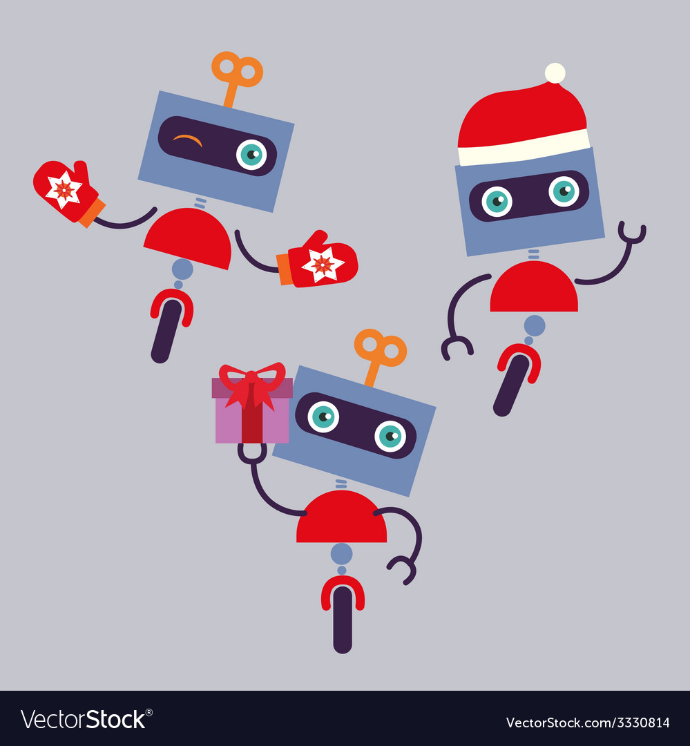 Holiday robots characters vector | Price: 1 Credit (USD $1)