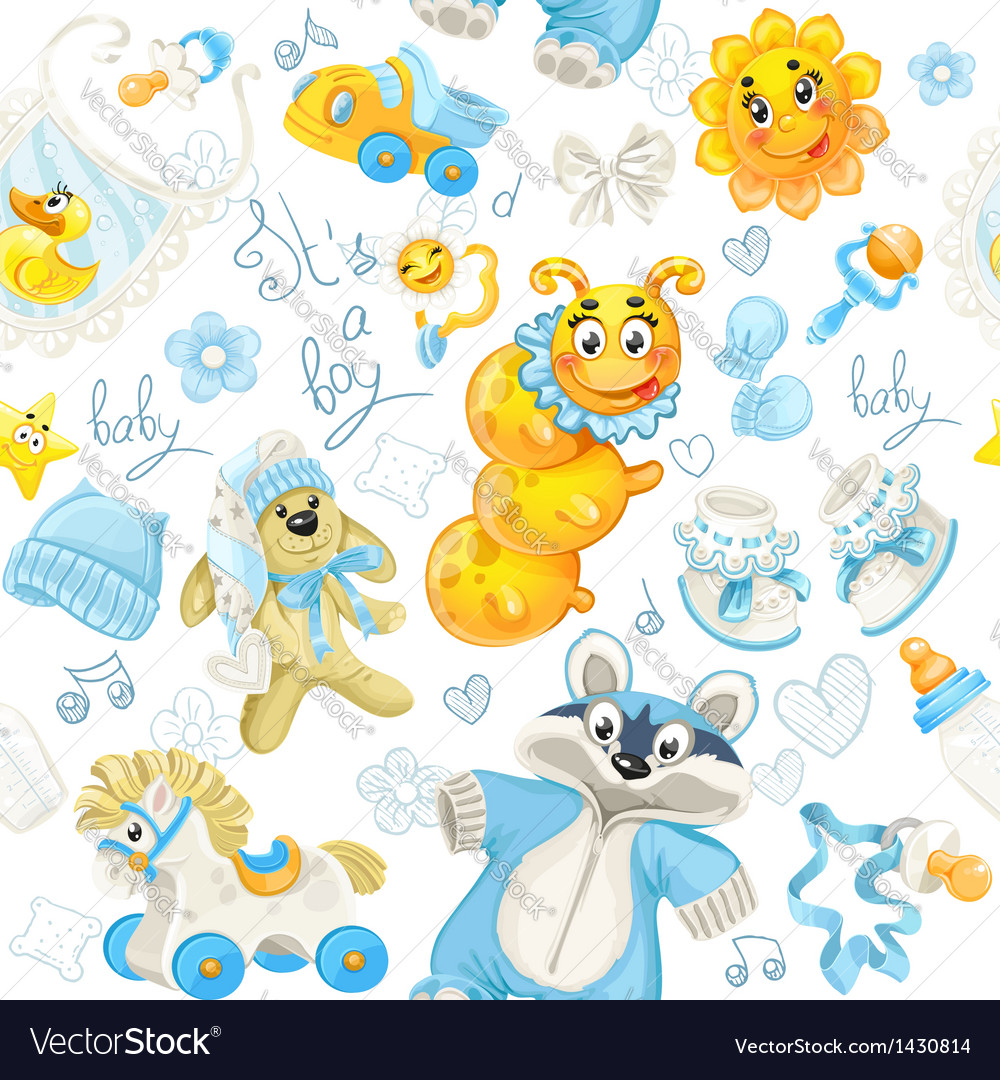 Seamless pattern of blue clothing toy and stuff vector | Price: 1 Credit (USD $1)