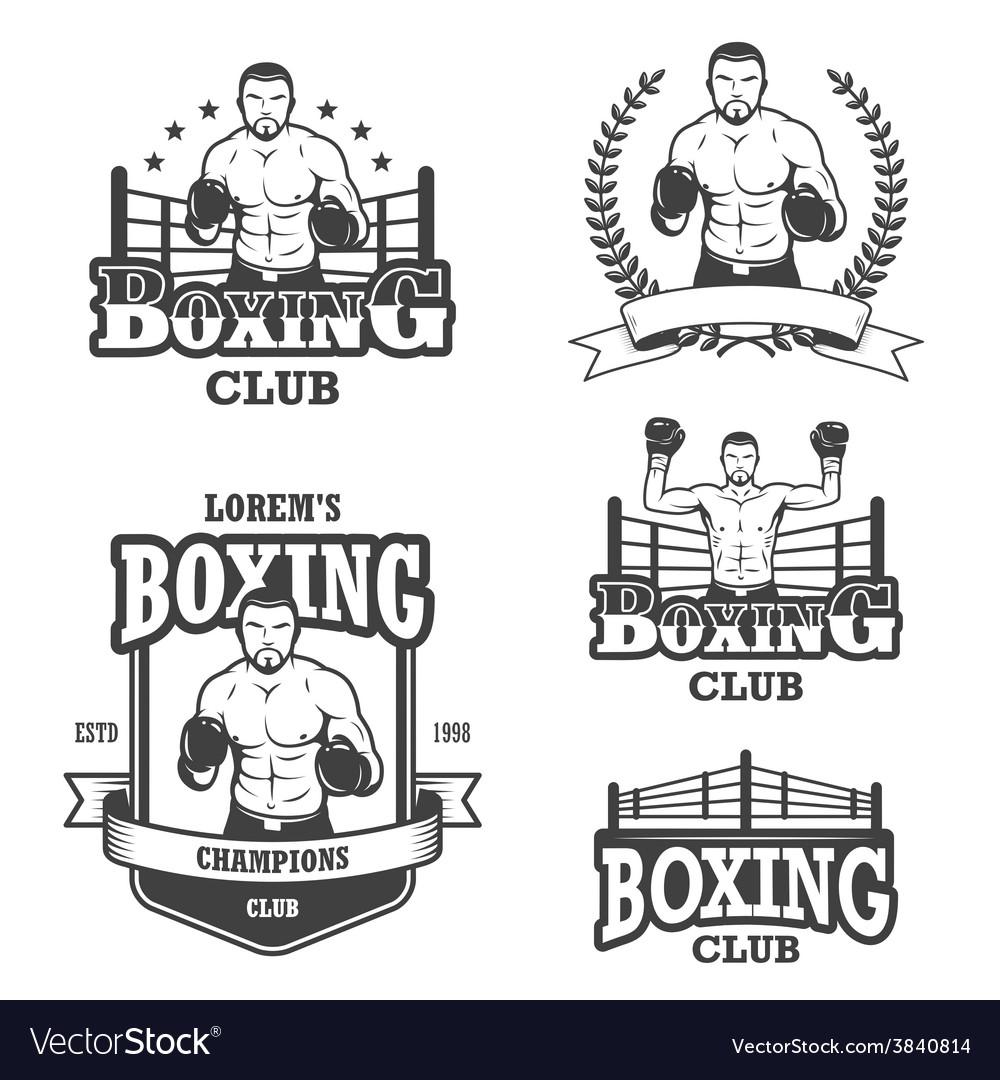 Set of vintage boxing emblems vector | Price: 1 Credit (USD $1)