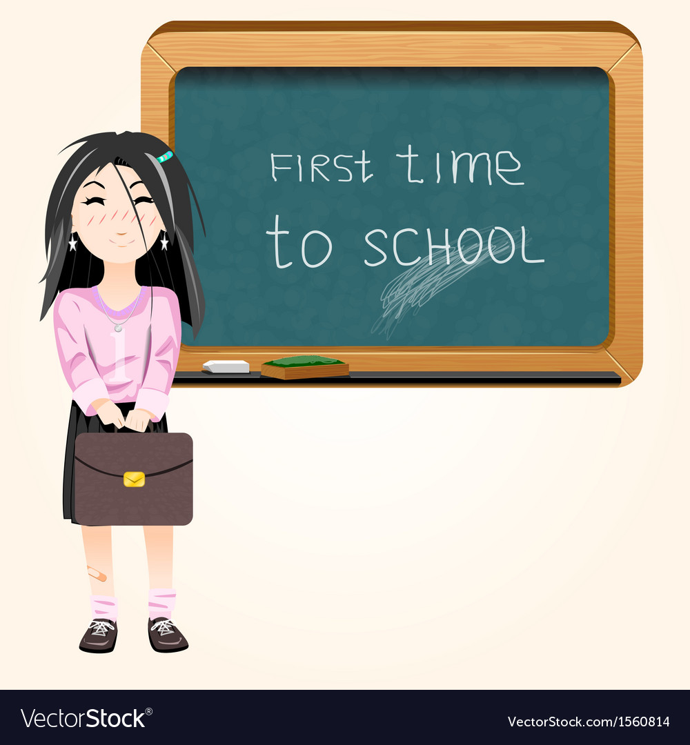 Student near blackboard vector | Price: 1 Credit (USD $1)