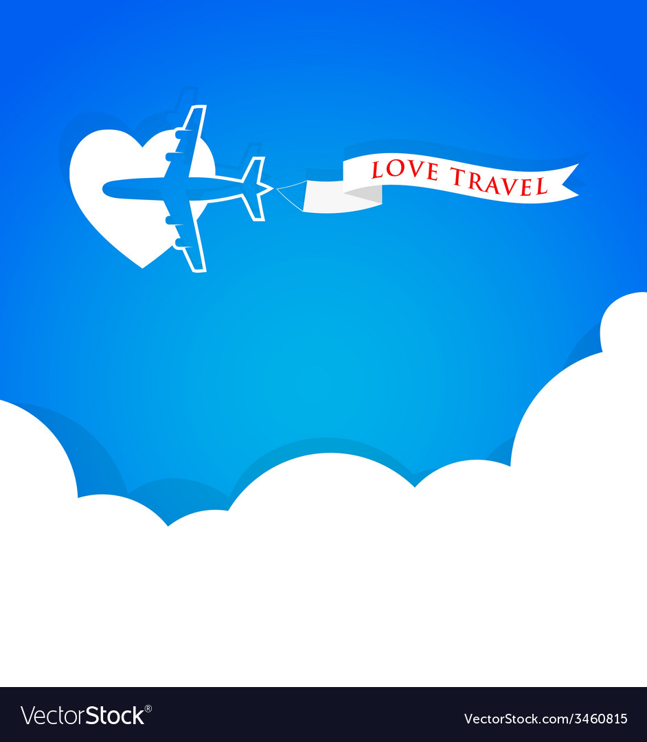Airplane with announcement banner and blue sky vector | Price: 1 Credit (USD $1)