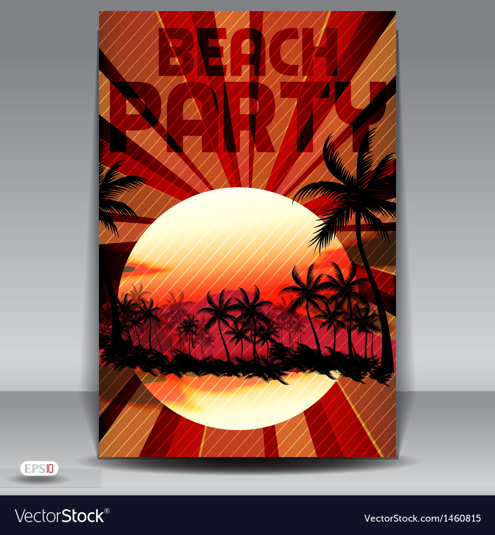Beach party invitation vector