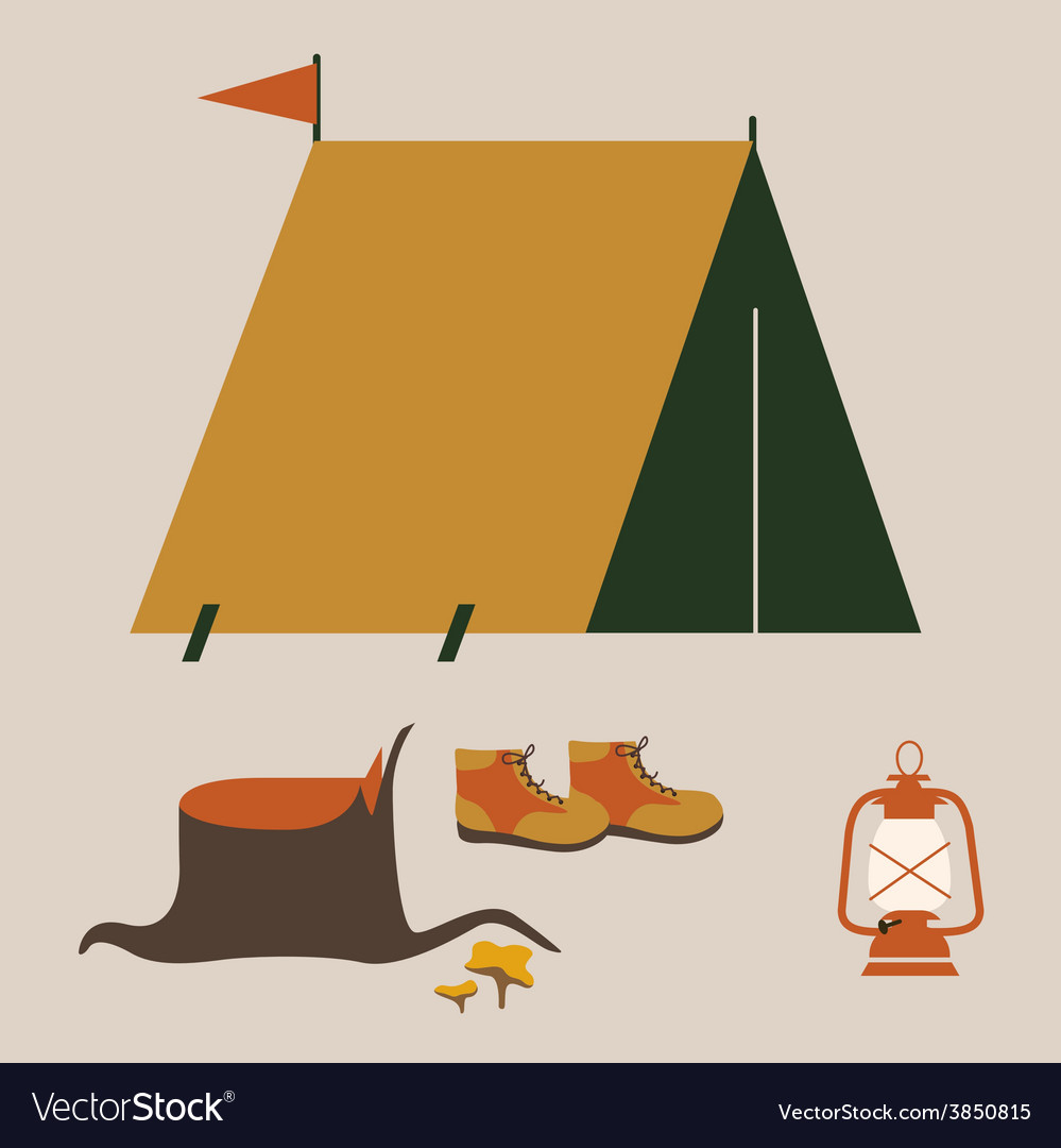 Camping elements vector | Price: 1 Credit (USD $1)