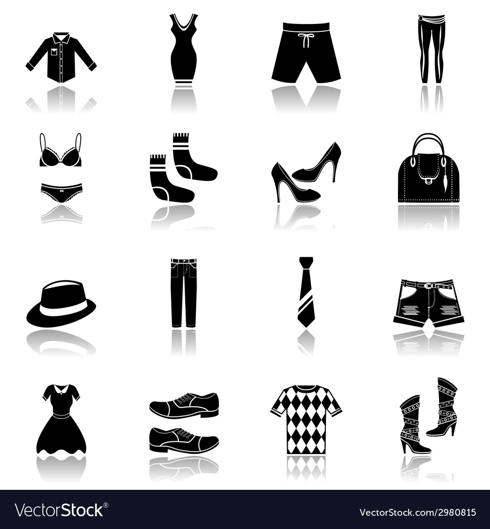 Clothes icons set black vector | Price: 1 Credit (USD $1)