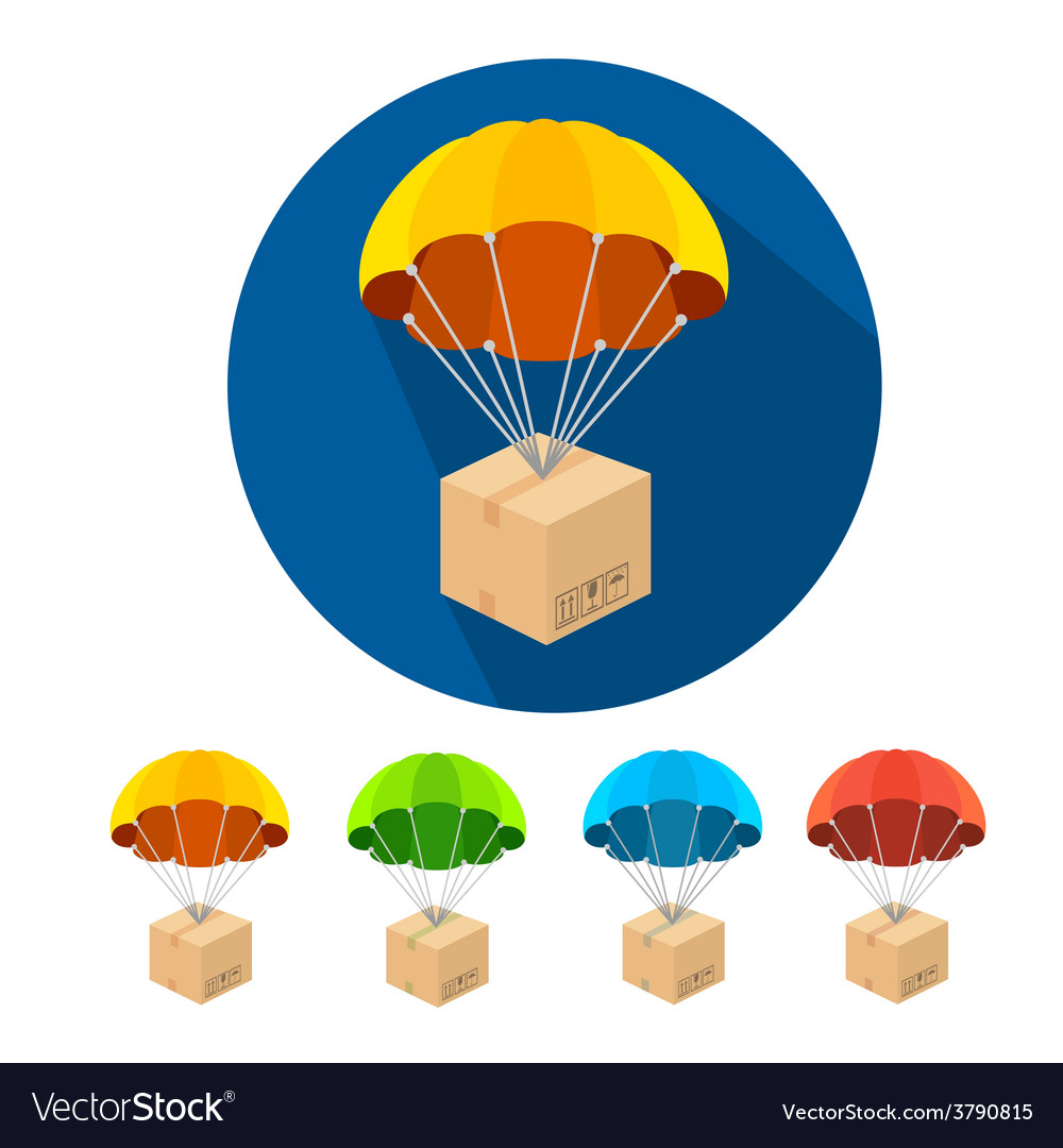 Flat parachutes icons set vector | Price: 1 Credit (USD $1)