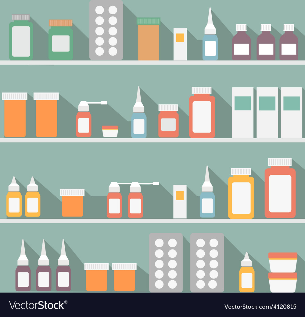 Flat style medical pharmaceutical bottles glasses vector | Price: 1 Credit (USD $1)