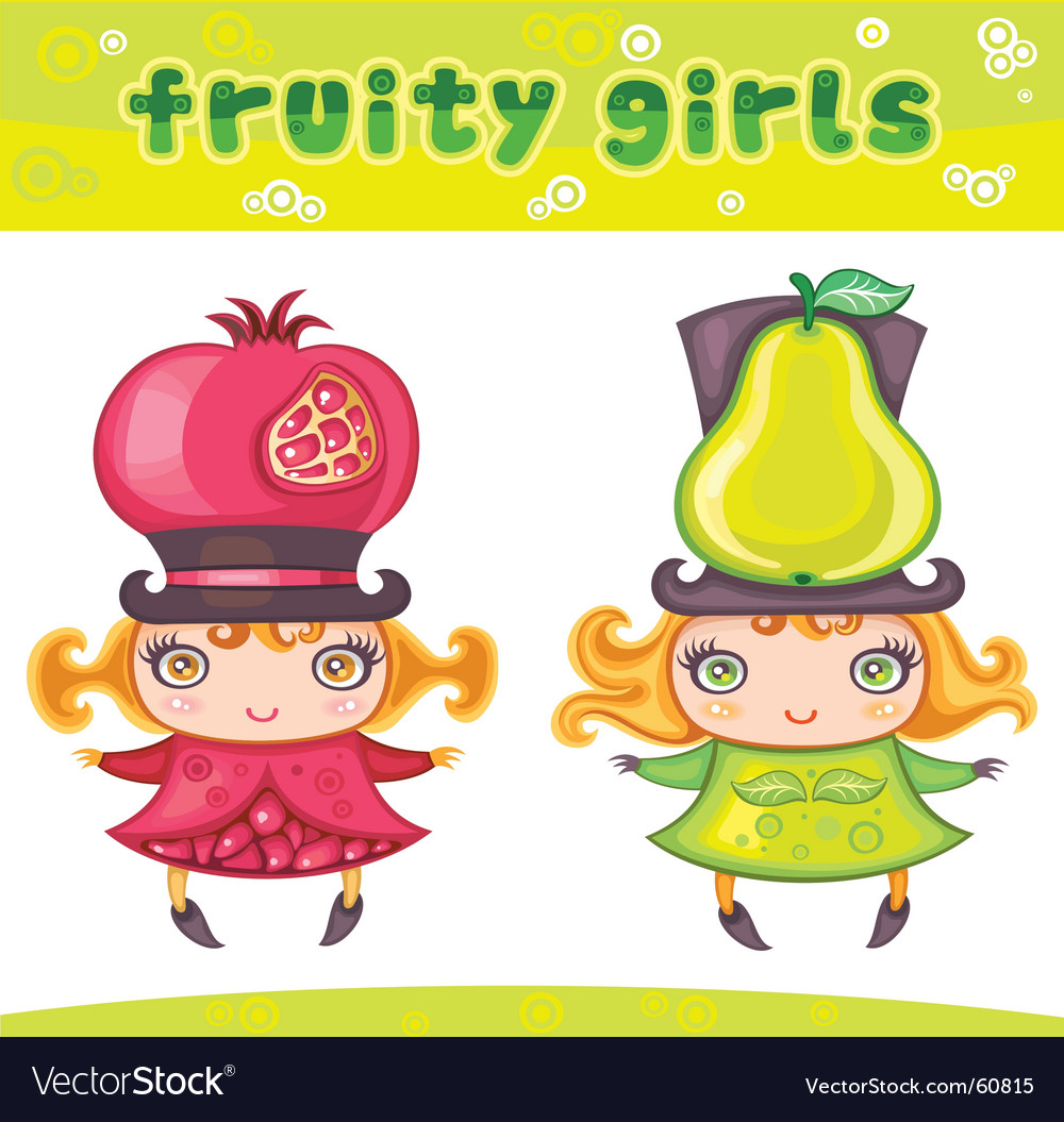 Fruity girls series 2 pomegranate pear vector | Price: 3 Credit (USD $3)