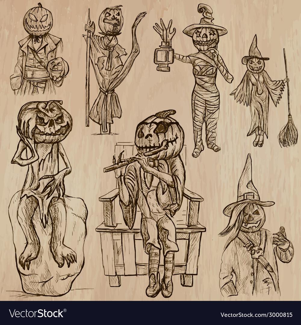 Halloween jack o lantern - an hand drawn pack vector   Price: 1 Credit (USD $1)
