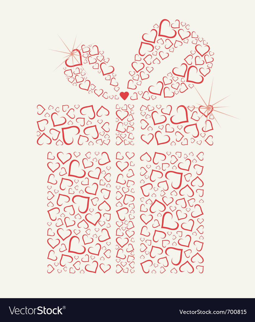 Happy valentines day gift with hearts vector | Price: 1 Credit (USD $1)