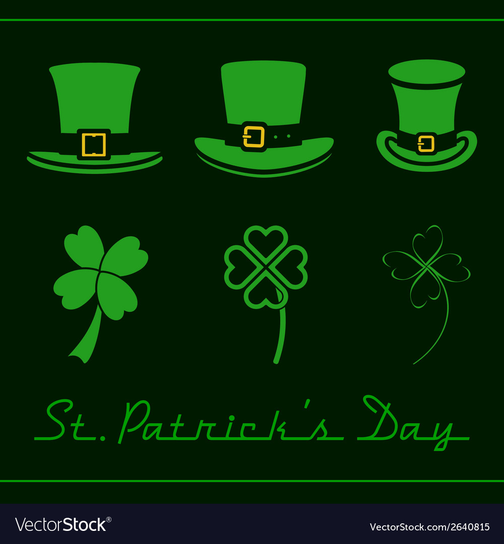 Hats and clovers set vector | Price: 1 Credit (USD $1)
